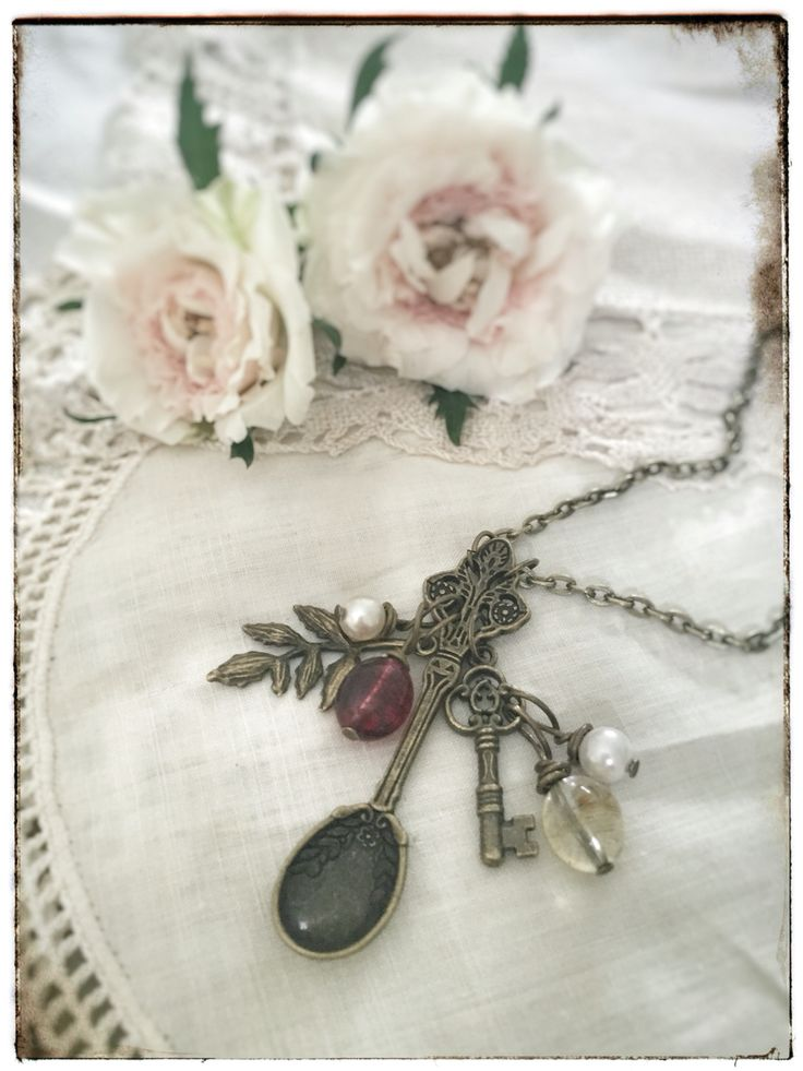 "Antique bronze fairy tale jewelry on www.varalusikka.fi. Vintage style hand made spoon necklace with Swarovski and sea pearl beads called ""Garden Fay""."