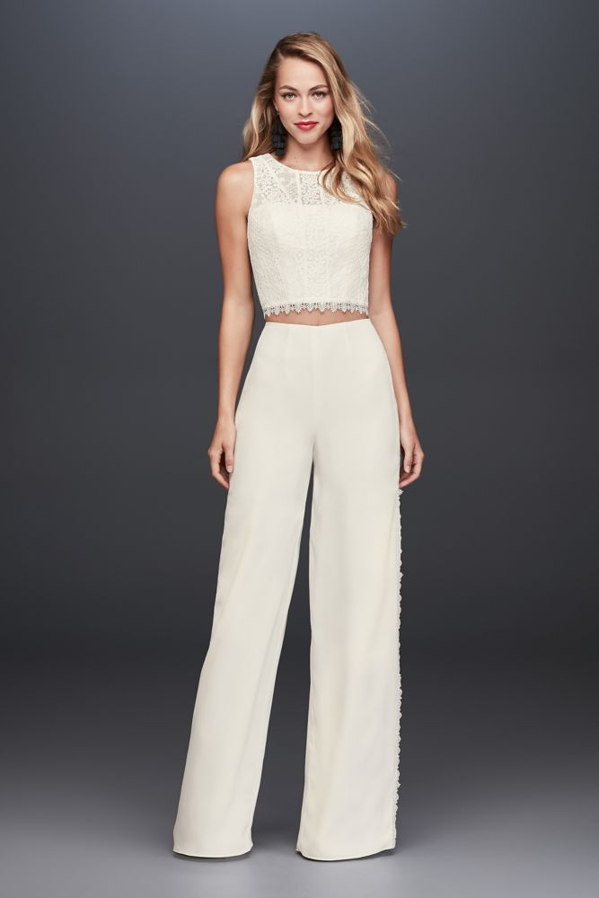 cf1d37b173a Lace Crop Top and Crepe Wide-Leg Pants - Ivory