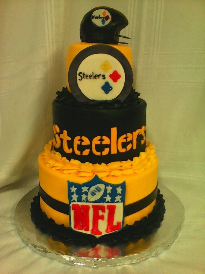 My 3 tier 468 inch STEELERS cake. butter cream with fondant details and helmet in made with rice crispy treats and covered in fondant