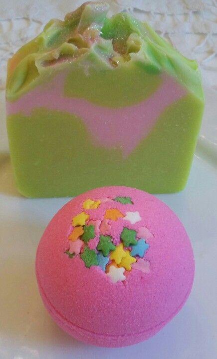 Pink grapefruit soap and fruit punch bath bomb