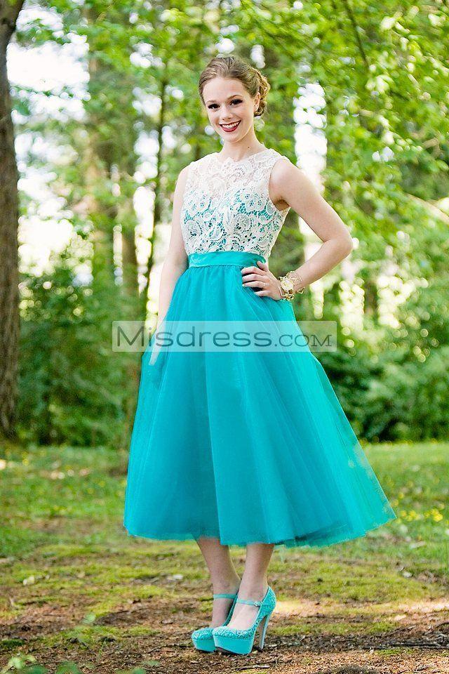 Vintage Ivory Lace Mint Blue Tulle Tea Skirt Prom Bridesmaid Dress