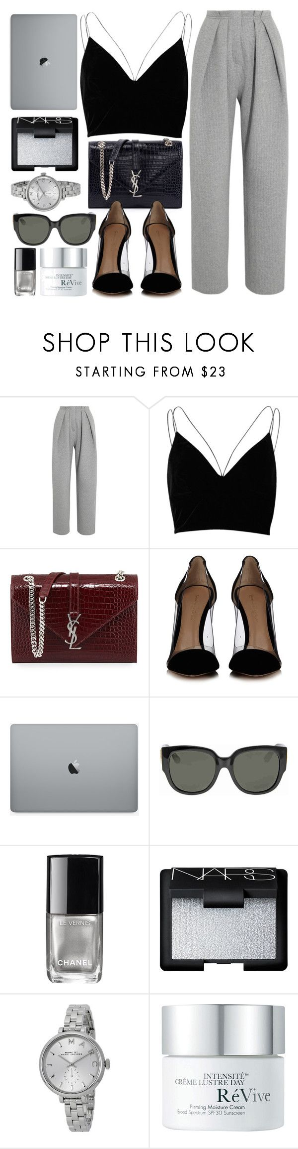 """""""Busy Days"""" by monmondefou ❤ liked on Polyvore featuring Vika Gazinskaya, River Island, Yves Saint Laurent, Gianvito Rossi, Gucci, Chanel, NARS Cosmetics, Marc by Marc Jacobs, RéVive and black"""