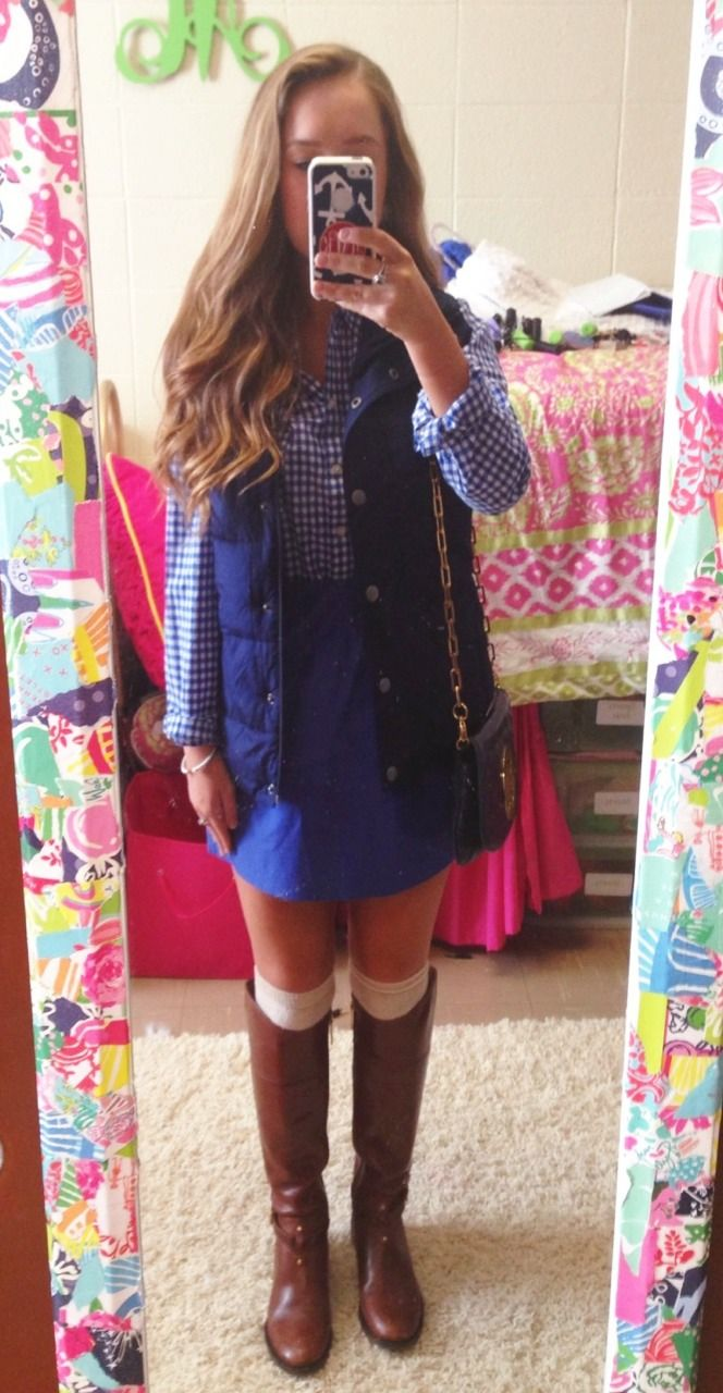 Ootd  Button up- old navy Vest- old navy  Skirt- jcrew Purse- Tory burch  Boots- Tory burch  Socks- target  Bracelet/ring- David Yurman