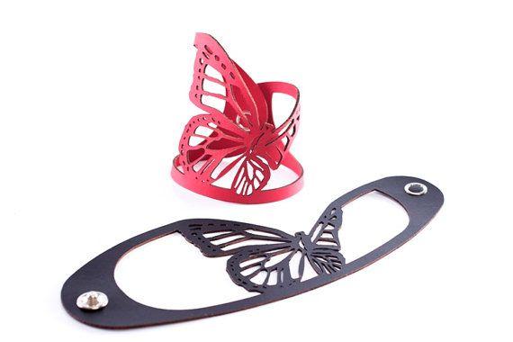Nuovo! ISkin Green Aki Butterfly bracciale - cuoio riciclato - taglio Laser - gioielli contemporanei - gioielli - bracciale