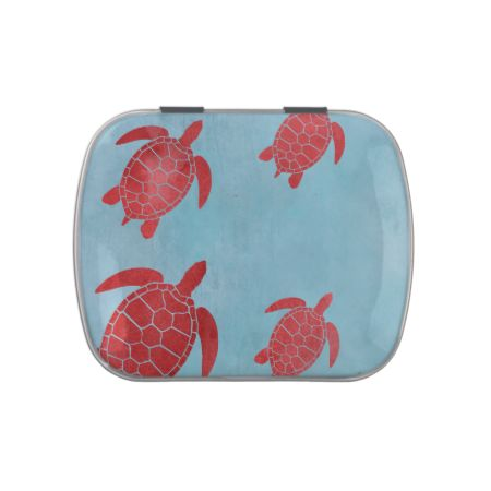Red and Blue Green Sea Turtle Jelly Belly Candy Tin