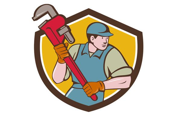 Plumber Running Monkey Wrench Crest Retro Illustration Monkey Wrench Cartoon Styles