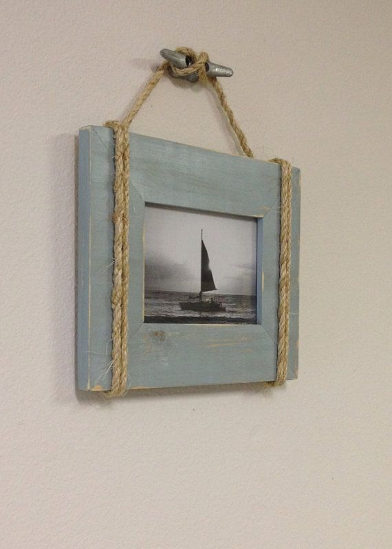 Shabby chic nautical beach cottage 5x7 rope boat cleat Rope photo frame
