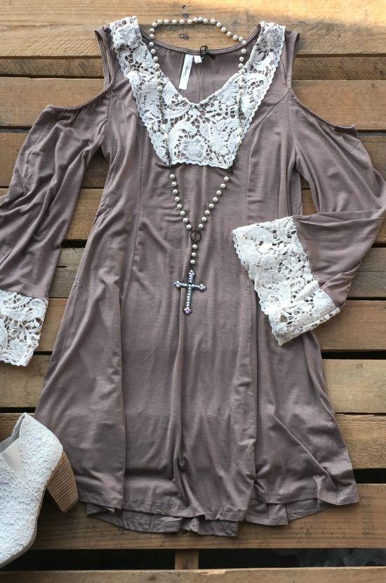 Nobody Wants To Be Alone Tunic Dress- Mocha $32.99! #lace #fallcolors #fallfashion #southernfriedchics