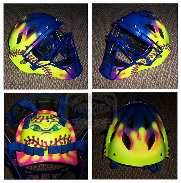 This is a girl's catcher's helmet for a softball player.