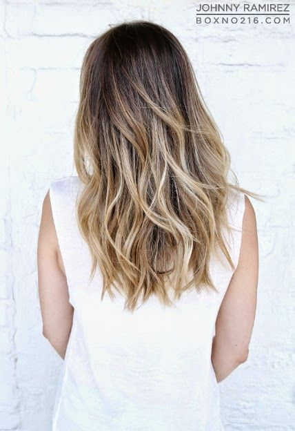 medium brown base with a fade to golden blonde highlights all throughout her ends and framing her face. {Box No. 216}