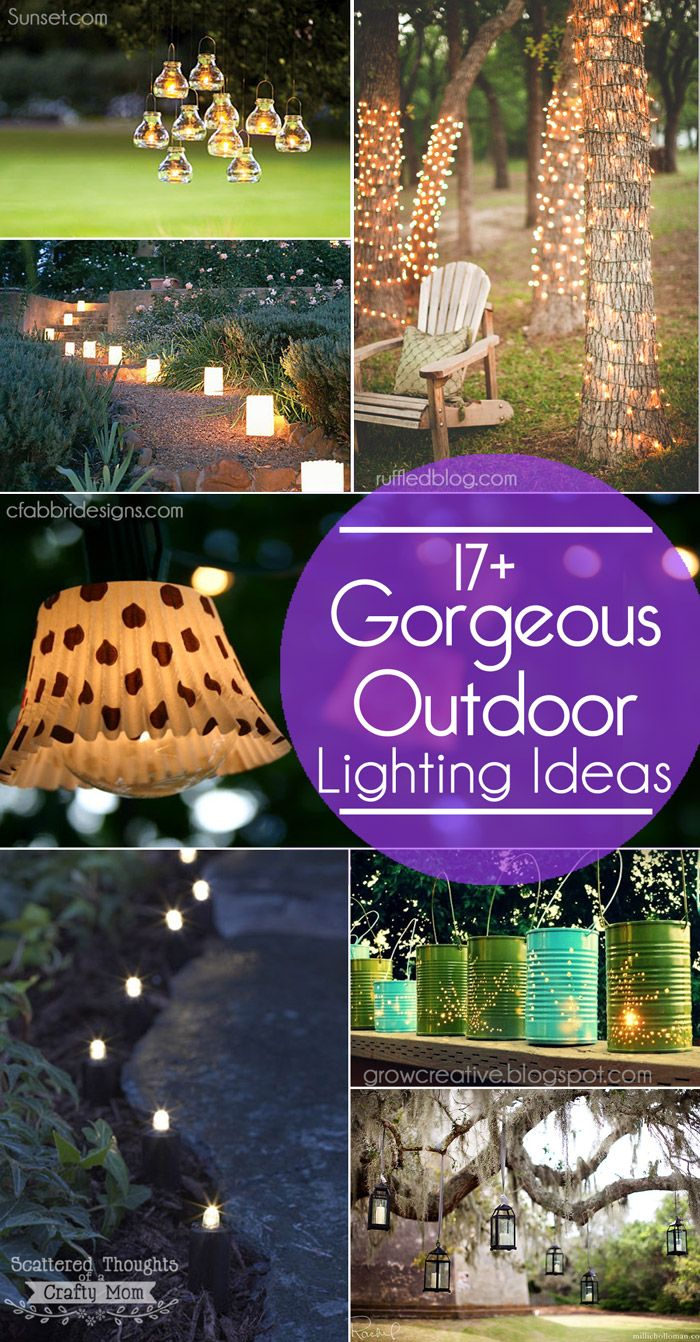 """Hey Guys, I'm sharing these gorgeous and easy to duplicate Outdoor Lighting Ideas with you today, Enjoy! I think I've mentioned before, my mothers day gift this year was yard work. I definitely got my """"money's worth"""" out of that gift. It took my hubby a couple of weekends to finish the makeover on our …"""
