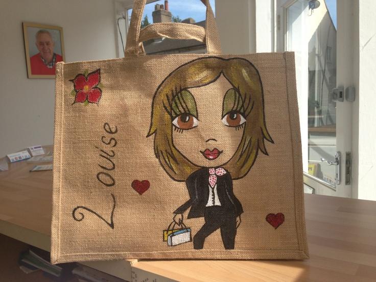 Personalised Name Jute Bags... Find me on Facebook - Stacey Garrett.