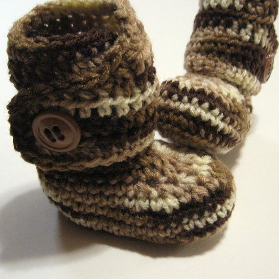 Infant crochet booties  Ankle boots  Neutral by ThoughtfulStitches, $18.00