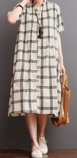 Nude plaid cotton maxi dress sundresses plus size summer dresses