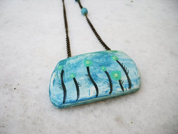 sorrow  clay handpainted ooak pendant by Joogr on Etsy, €23.00
