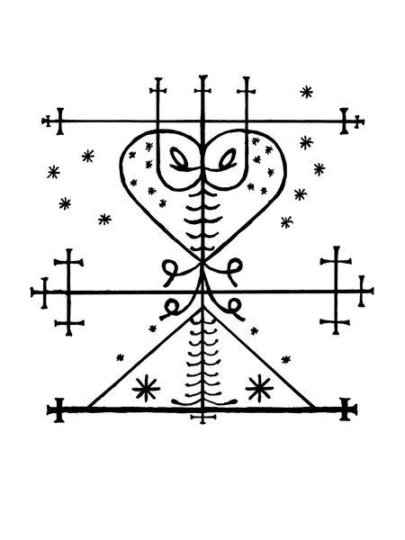 Maman Brigitte, loa of death  fertility, wife of Baron Samedi  protector of cemeteries. #veve #voodoo