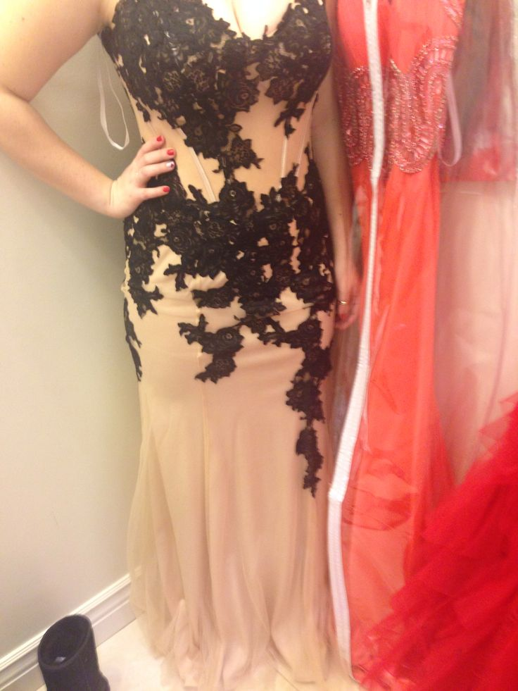 Black and Tan lace prom dress from castle couture in New Jersey ...