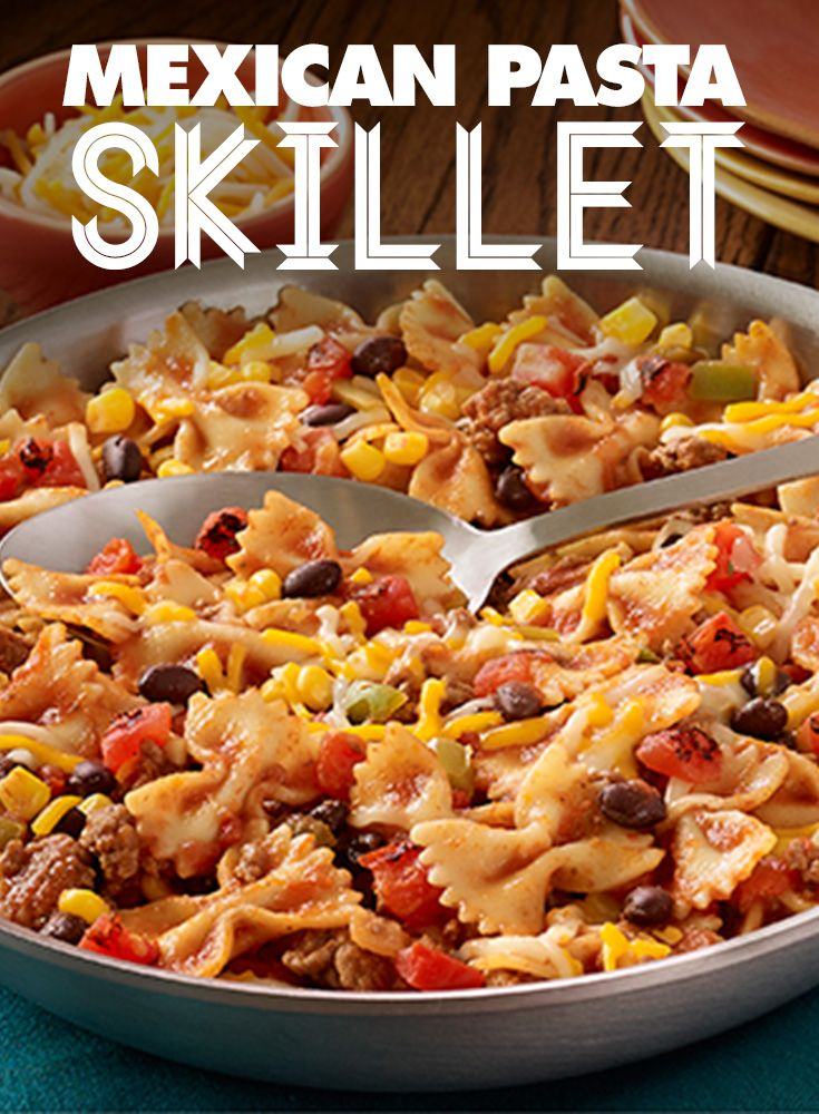 This zesty, one-dish Mexican Pasta Skillet recipe is a must-make on a cool fall evening. HuntsAtHome AD