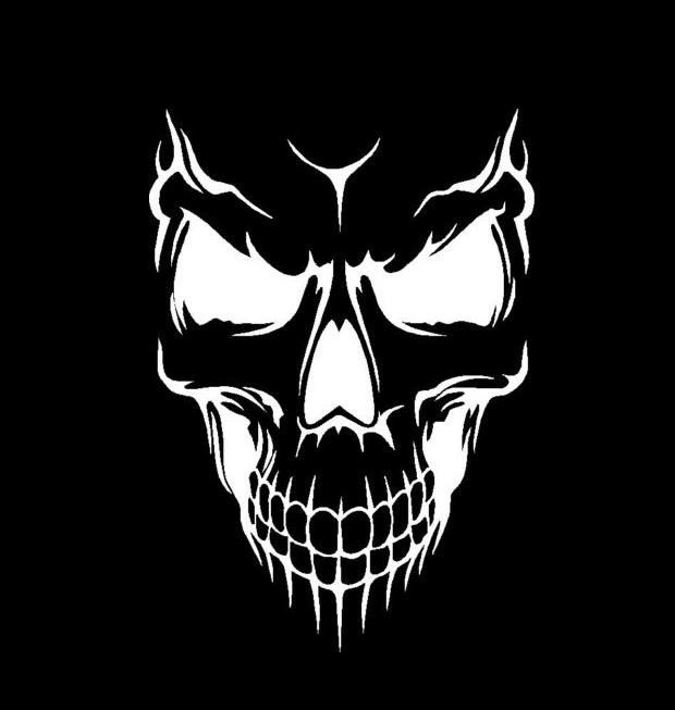 Evil Skull Vinyl Decal Choose Size And Color Made With
