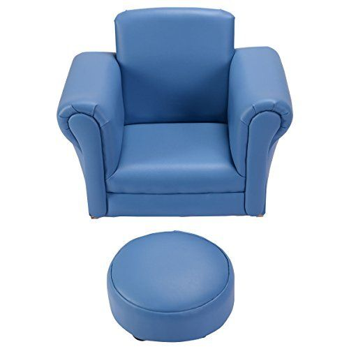 Costzon Kids Chair And Ottoman Set With Rocking Function Blue
