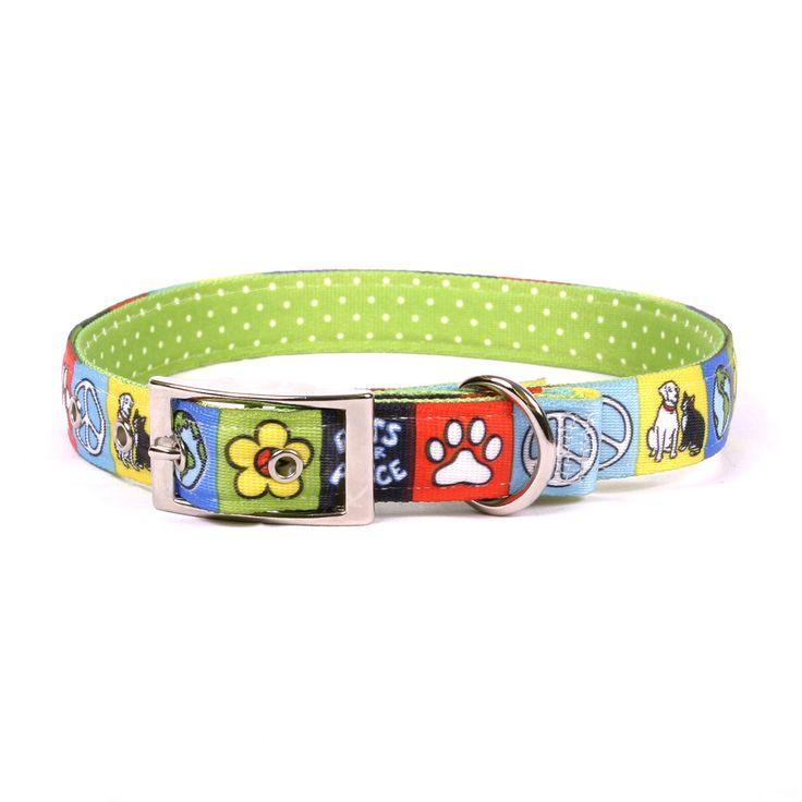 Pets for Peace Uptown Dog Collar, made in the USA by Yellow Dog Design Inc.  The style and quality of a trusted brand such as Yellow Dog Design, and with the added comfort and durability of a dual layer design, metal hardware and buckle closure.  Buy online today at HotDogCollars.com