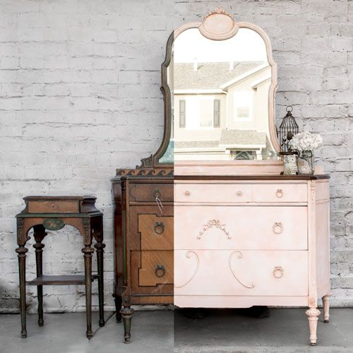 The Emily Set {Before & After} by Vintage Storehouse & Co.  #PaintedFurniture #PinkPaintedFurniture #AntiqueDresser #LittleGirlFurniture: