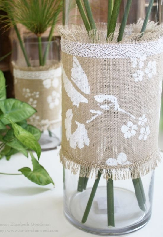 To Be Charmed has a great tutorial on how to make this easy diy vase wrap. It certainly adds a rustic appeal to any container.