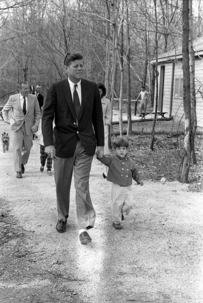 KN-27613. President John F. Kennedy with John F. Kennedy, Jr. at Camp David - John F. Kennedy Presidential Library & Museum