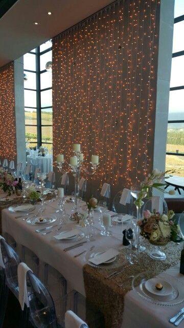 Wedding celebrations at Waterkloof Restaurant,  Somerset West. Stunning table setting.