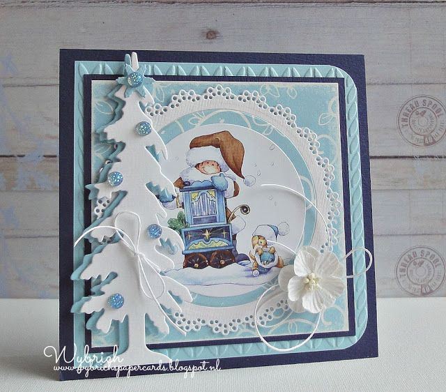 Card by DT member Wybrich with Craftables Basic Round (CR1331), Creatables Spar (LR0378) and Design Folder Extra Knitting (DF3418) by Marianne Design