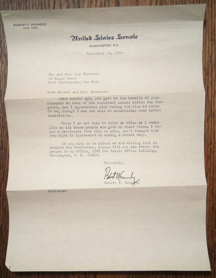 petition cover letter%0A Rfk robert f  kennedy autograph  typed senate letter signed