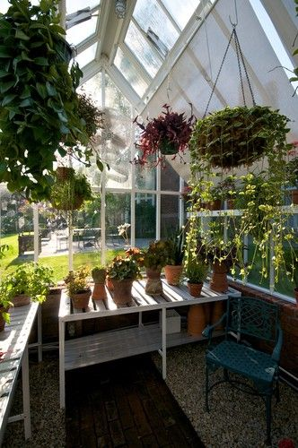 My dream home would include a gorgeous greenhouse like this ~