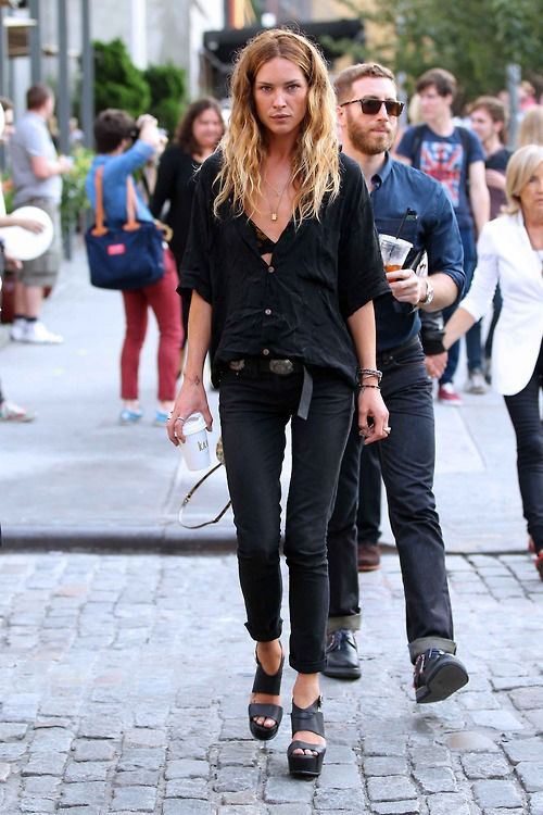Erin Wasson.  Love the simple all-black outfit with a great shoe.  So effortless.