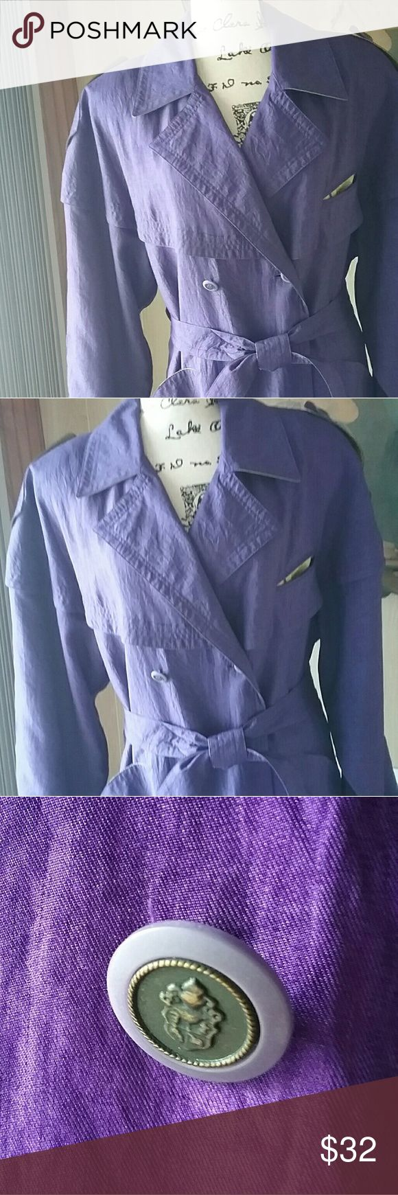 Deep Purple Trench Coat Worn a few times. Don't be fooled by the lavender photos....THIS JACKET IS DEEP PURPLE AS IN PHOTO #3. j.gallery Jackets & Coats Trench Coats