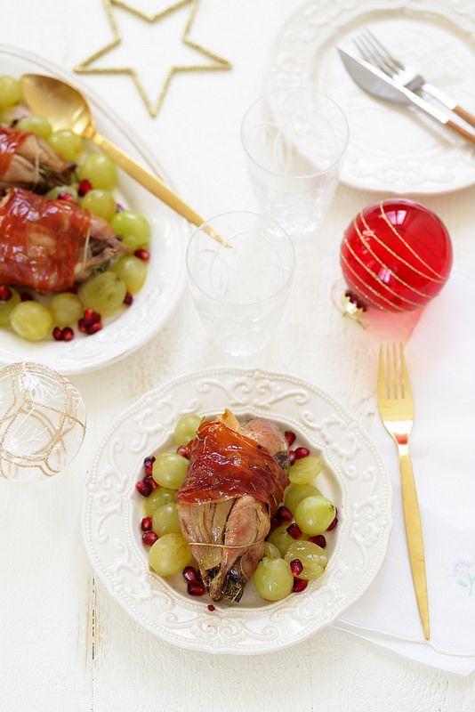 Cailles rôties, salade de raisin et grenade