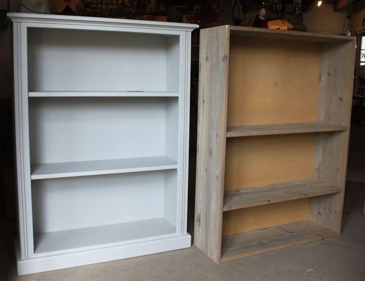 Hylla ombyggd och målad åt kund. Originalet till höger.