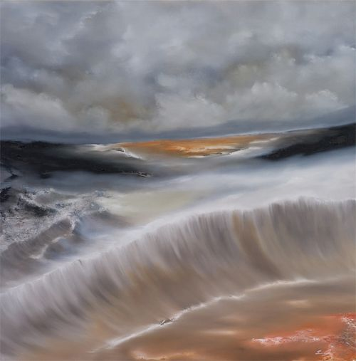 Sam Laufer, Abstract landscape of a canyon and orange sea