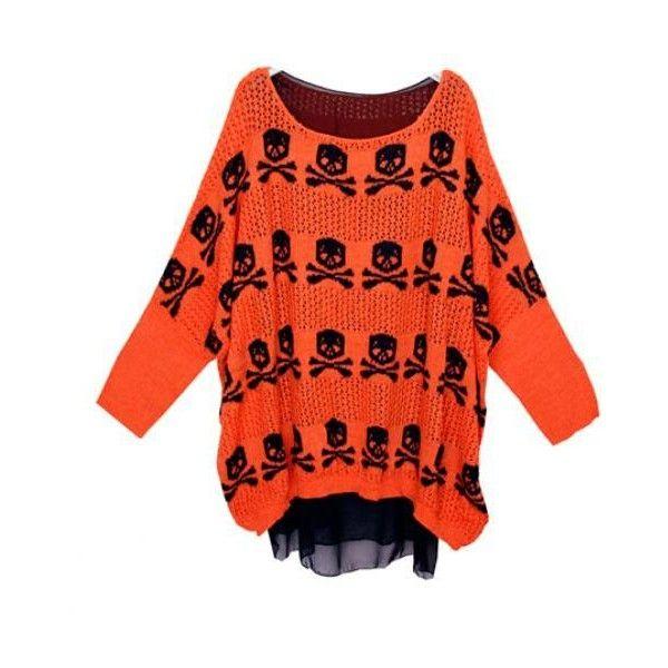 Skull Bat Sleeve Fake Two Sweater Orange$58.00 ($58) via Polyvore