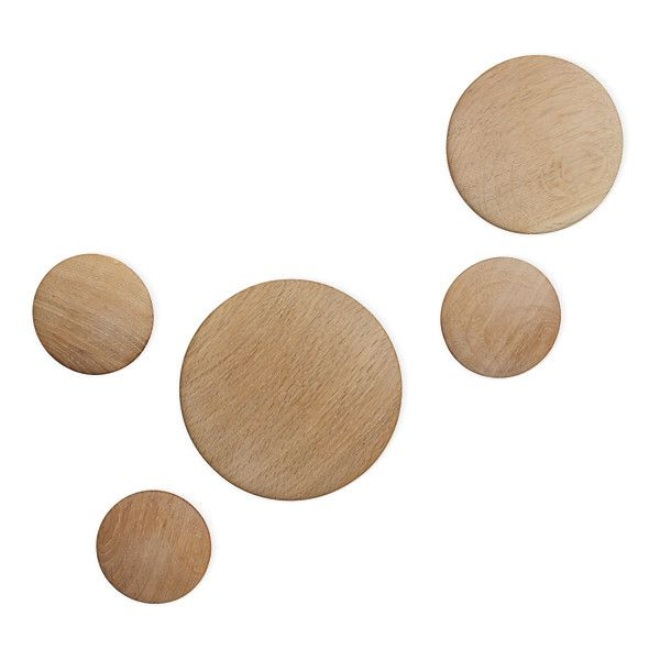 Coatrack Dots, Set of 5 Design Within Reach (€140) ❤ liked on Polyvore featuring home, home decor, small item storage, design within reach, wood coat rack, wooden coat rack, wooden home decor and wooden hooks