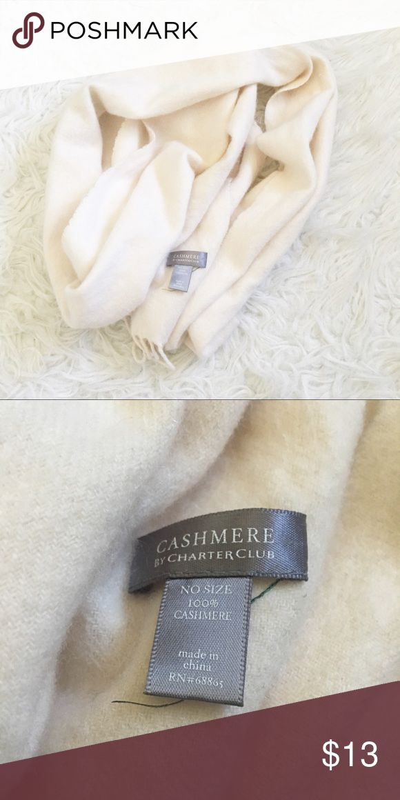 Charter Club 100% Cashmere Cream Scarf So soft and pretty! No trades please, bundle to save x Perfect for fall! Charter Club Accessories Scarves & Wraps