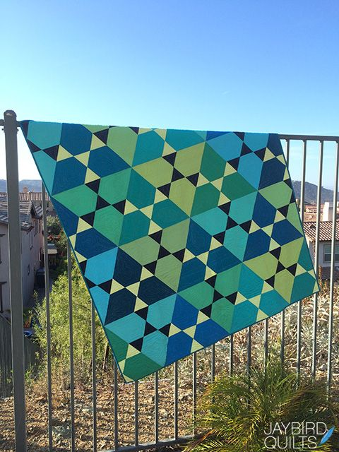 Jaybird Quilts Lotus Quilt, made with the HexNMore ruler. Available in local & online quilt shops. #JaybirdQuilts #HexNMore #LotusQuilt