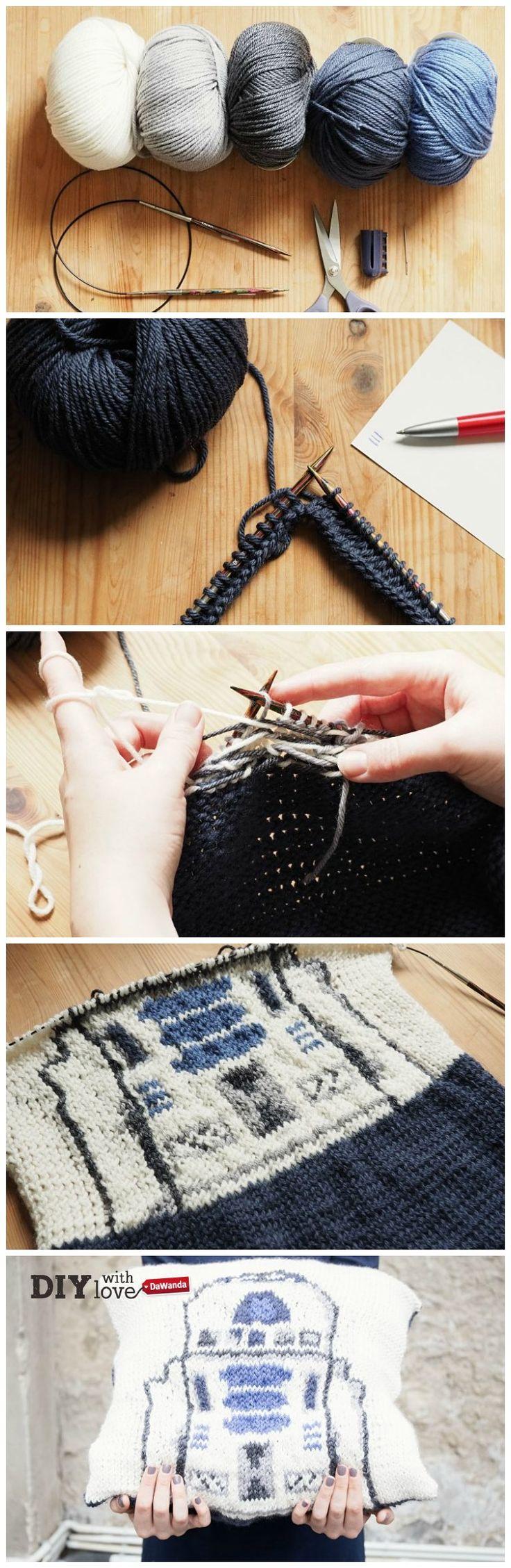 Appassionati di #StarWars e #DIY: ecco il tutorial per voi! Cuscino a maglia con droide r2-d2 http://it.dawanda.com/tutorial-fai-da-te/lavorare-maglia/come-fare-cuscino-maglia-droide-r2-d2