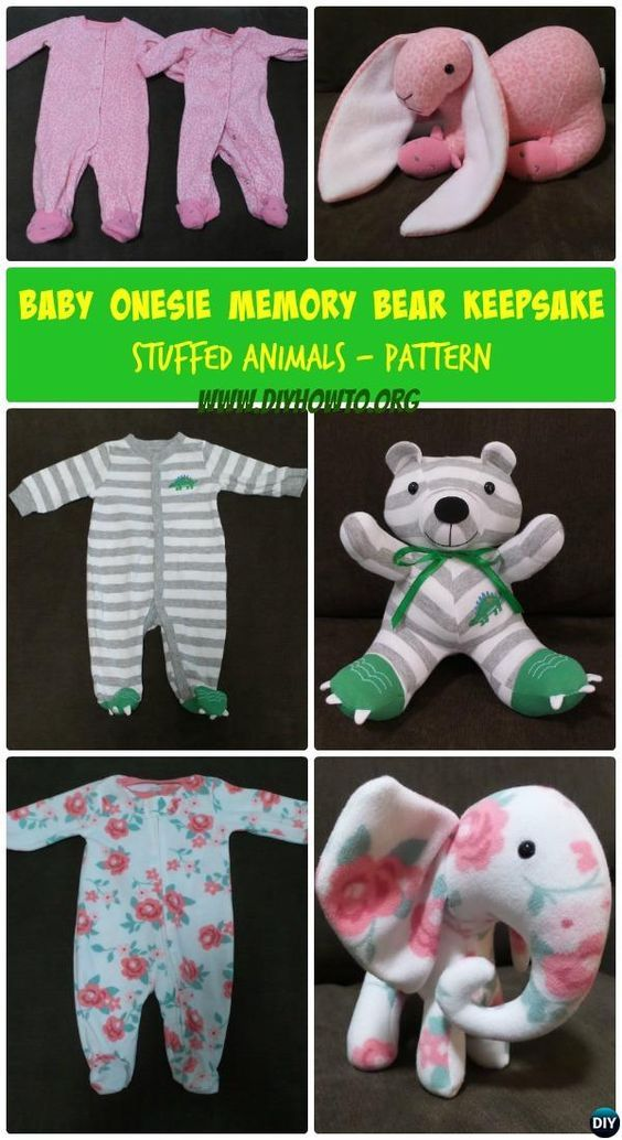 DIY Baby Onesie Memory Bear Keepsake Bear Animal Tutorial Free Pattern: Turn outgrown baby onesie and other clothes into stuffed animal keepsake. #ForKids