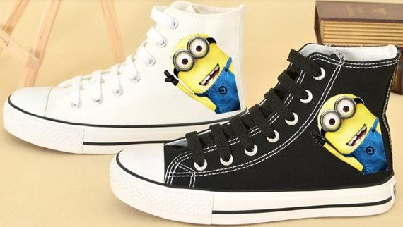 Despicable Me 2 Minion Custom Shoes Converse Despicable Me Minion Shoes Hand Painted Shoes*Want These For Khloe*
