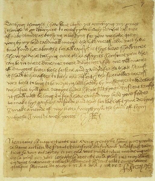 """Letter from Henry VIII to Anne Boleyn, ending with the still-mysterious message: """"B.N.R.I. de R.O.M.V.E.Z"""""""
