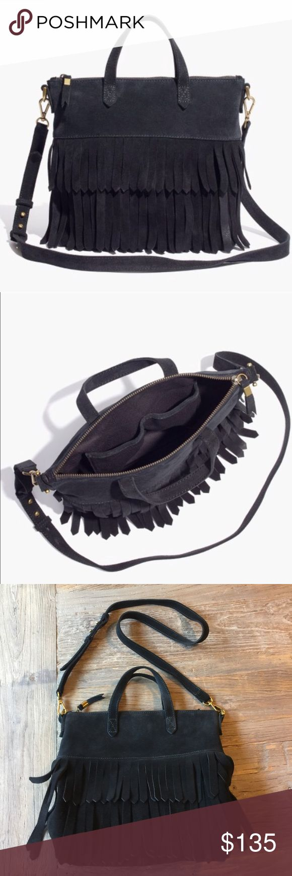 """MADEWELL black suede fringe mini transport tote GENTLY USED CONDITION -great condition with a few signs of wear. Inside is clean with no damage or stains. Smoke free home. Bottom of bag has water marks from where I accidentally sat the bag in water -this is not visible when using the bag. Fully lined. Can be worn cross body or strap can be removed and used as a tote. 2 slip pockets on inside. 19 7/10"""" shoulder strap drop. 9 7/8"""" H x 10 1/4"""" W x 3 1/2"""" D.  ❌no trades Paypal or modeling…"""