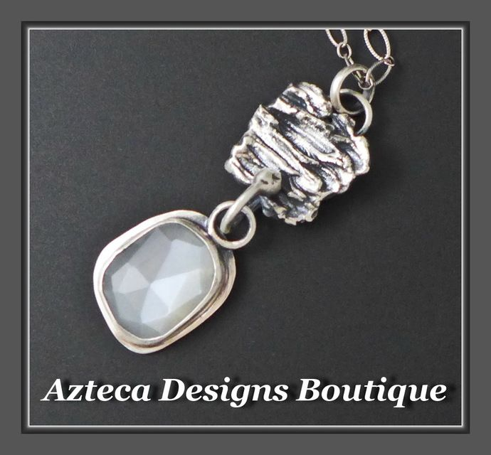 Selene~ Rosecut White Moonstone Sterling Silver Hand Fabricated Pendant Necklace by AztecaDesignsBoutique, $142.00 USD