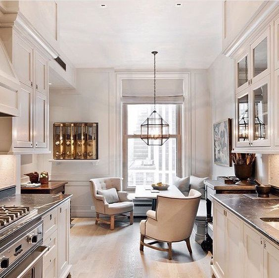 I want this galley Kitchen!  In the Plaza Hotel Astor Suites in New York, Designed by  S.R Gambrel