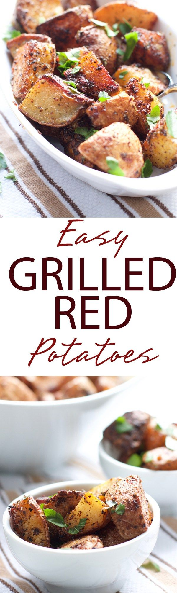 Easy Grilled Red Potatoes | Easy Grilled Red Potatoes are simply irresistible! Filled with savory spice and smokey flavor. These potatoes will be a grill win! | forkknifeandlove.com