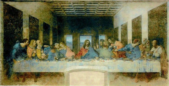 Leonardo da Vinci, Het laatste avondmaal, 1495-1498, fresco, 460 x 880 cm, Santa Maria delle Grazie, Milaan  http://www.artsalonholland.nl/renaissance/leonardo-da-vinci-het-laatste-avondmaal